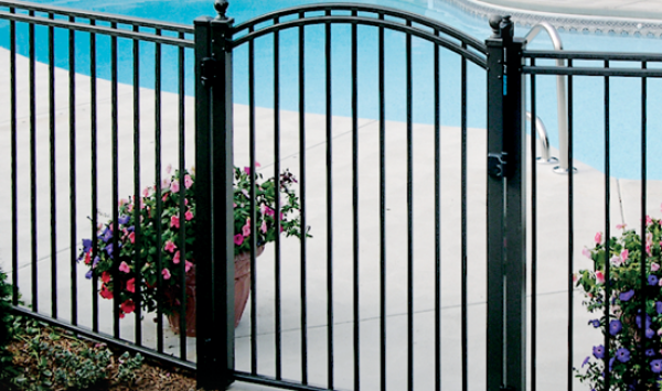 metal pool gate and fence